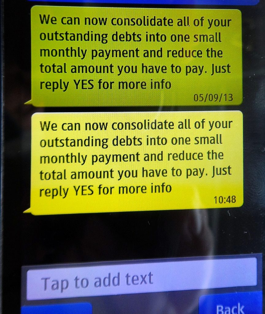 Computer screen message saying you can consolidate all your debts into one small monthly payment
