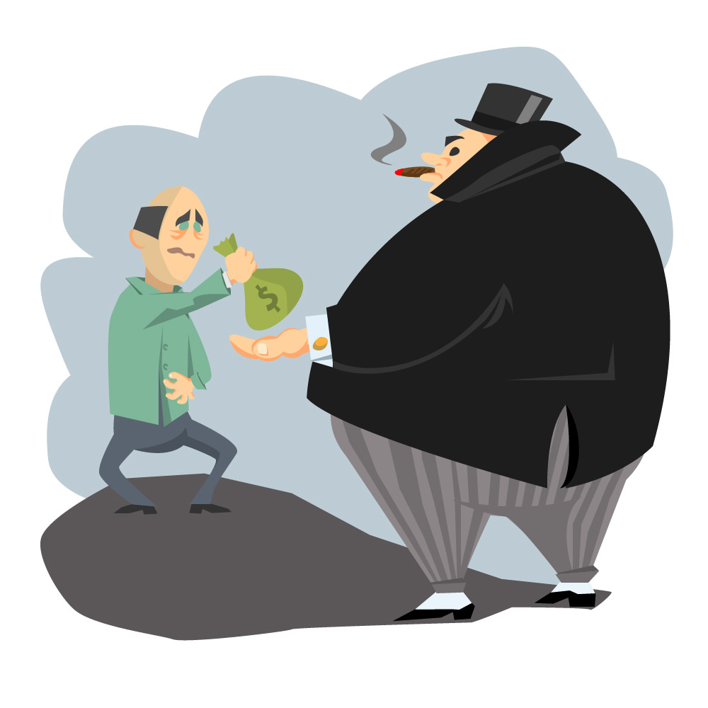 brow beaten cartoon man handing a bag of money to a successful looking fat man in a top hat chomping on a cigar