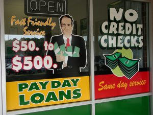 store window advertising payday loans
